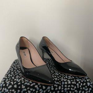 Miu Miu Black Leather with Silver Glitter Heels